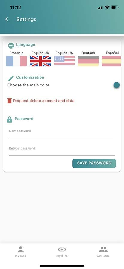 Choose language and change password