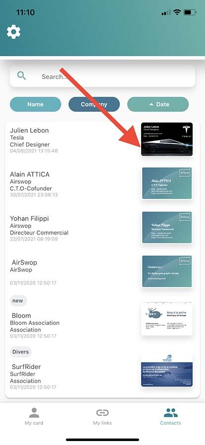 Contact added from AirSwop button
