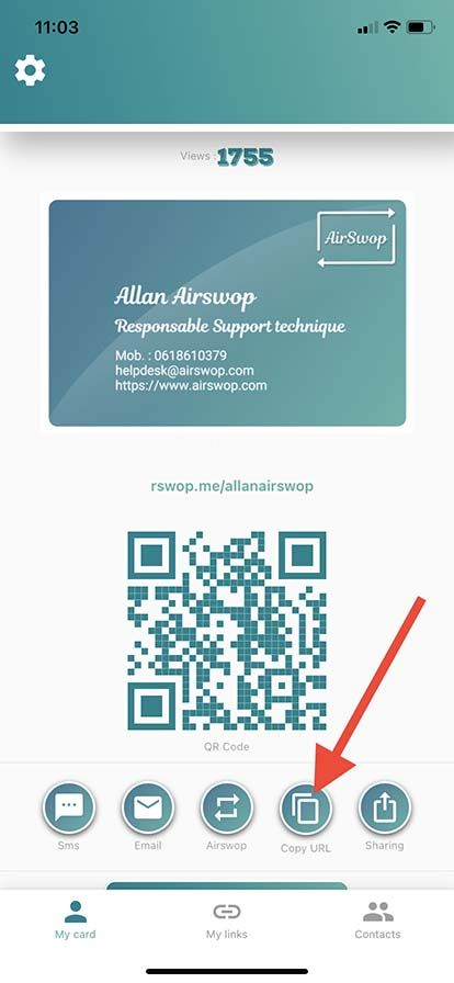 copy your card url