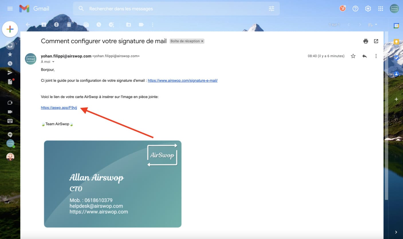 copy the link of your AirSwop Card