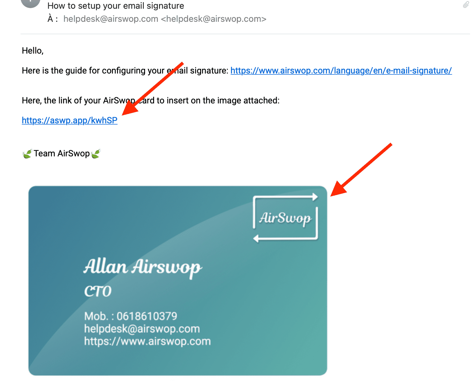 mail with card image and AirSwop card link